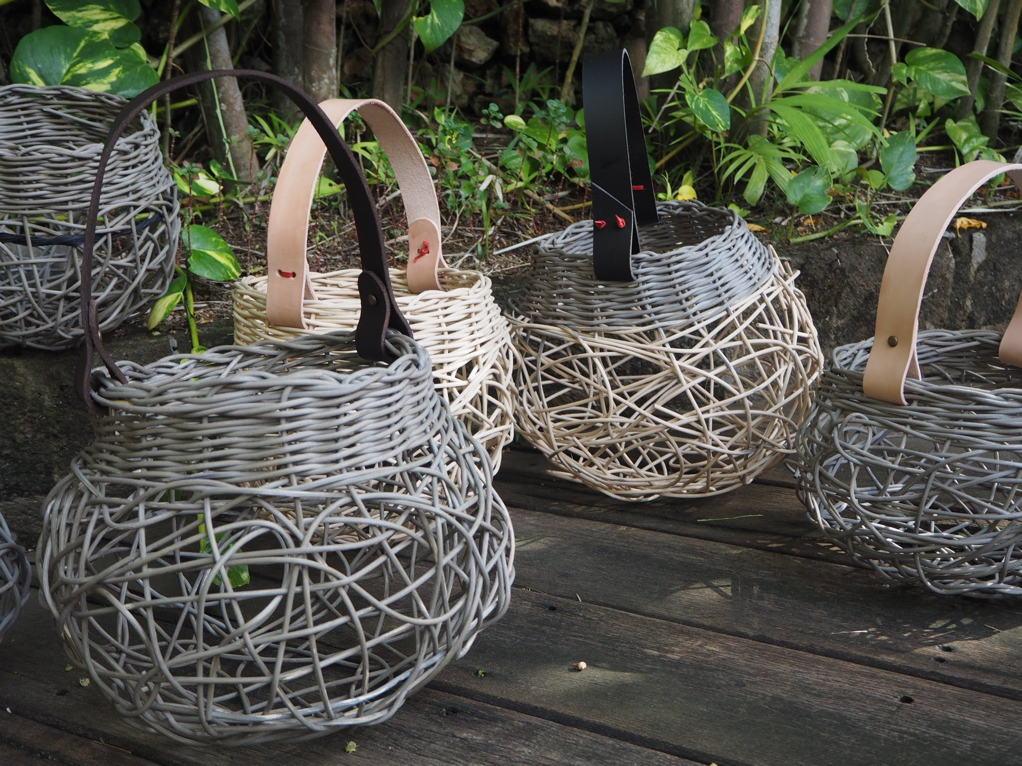 Weaving Woven Basket with Leather Handle - Accommodation Fremantle
